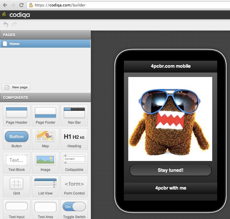jQuery mobile drag n'drop interface builder